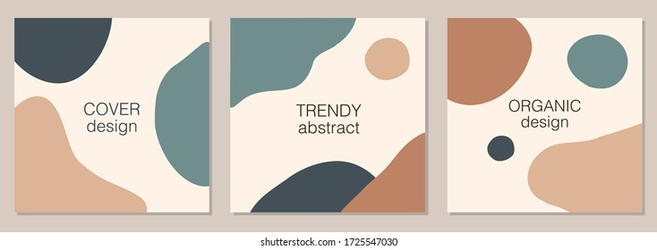 Trendy vector set of minimal fluid organic shapes, abstract background ideal for social media post, blogs etc