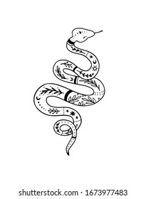 Trendy vector snake drawing in linear style with floral ornament. Black work tattoo. Linear illustration. Perfect for your brand, logotype, tattoo, card, invitation, poster, print