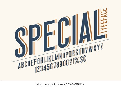 Trendy vintage display font design, alphabet, typeface, letters and numbers, typography. Swatch color control