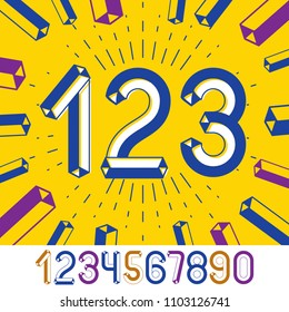 Trendy vintage vector digits, numerals collection. Retro numbers from 0 to 9 can be used in art  poster creation. Made with 3d tetra tube design, industry style.