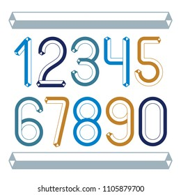 Trendy vintage vector digits, numerals collection. Retro numbers from 0 to 9 can be used in art  poster creation. Created using dimensional tetra pipe.