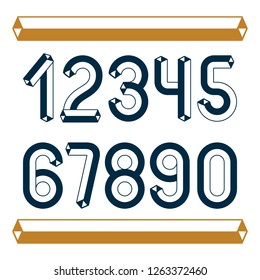 Trendy vintage vector digits, numerals collection. Retro numbers from 0 to 9 can be used in art  poster creation. Created with carton tube style, trigonometry design.