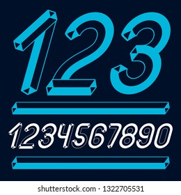 Trendy vintage vector digits, numerals collection. Retro italic numbers from 0 to 9 can be used in art  poster creation. Made with 3d tetra tube design, industry style.
