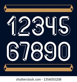 Trendy vintage vector digits, numerals collection. Retro numbers from 0 to 9 can be used in art  poster creation. Made using tetrahedral tetra tube design.