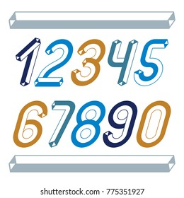 Trendy vintage vector digits, numerals collection. Retro italic numbers from 0 to 9 can be used in art  poster creation. Made with industrial 3d tetra tube design.