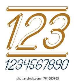 Trendy vintage vector digits, numerals collection. Retro italic numbers from 0 to 9 can be used in art  poster creation. Created using dimensional tetra pipe.