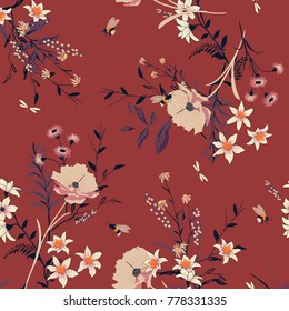 Trendy vintage vector Floral pattern in the many kind of flowers. Botanical  Motifs scattered random. Seamless vector texture. For fashion prints. Printing with in hand drawn style.red background.