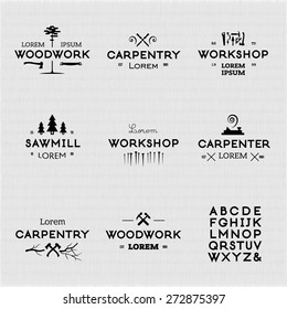 Trendy vintage woodwork logo set. High quality vector design elements.