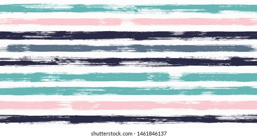 Trendy watercolor brush stripes seamless pattern. and paintbrush lines horizontal seamless texture for background. Hand drown paint strokes decoration artwork. For illustration.