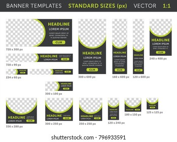 Trendy web banners in standard sizes (practical size 1:1) - squares and horizontal and vertical rectangles. Templates with round place for photo and button. Colored. Versatile use.  Vector set. Eps 10