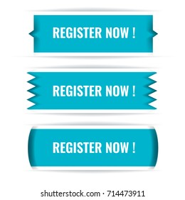Trendy Web interface or app buttons. Register now. Illustrated vector.