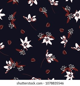 Trendy white Blossom  Floral pattern in the blooming botanical  Seamless vector texture For fashion prints. Printing with in hand drawn style on summer navy blue  background