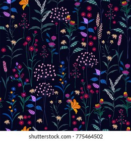Trendy  wild Floral pattern in the many kind of flowers. Dark  botanical  Motifs scattered random. Seamless vector texture. Printing with in hand drawn style on navy blue.