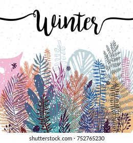 trendy winter leaves background. Vector botanical illustration, Great design element for congratulation cards, banners