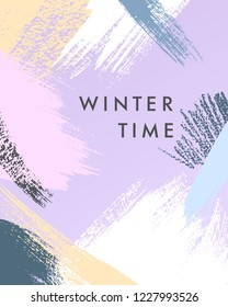 Trendy winter poster with hand drawn shapes and textures in soft pastel colors.Unique graphic design perfect for prints,flyers,banners,invitations,special offer and more.Modern vector illustration.