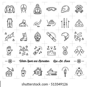 Trendy winter sport line icons set. Winter recreation and fun, ski, snowboard, snowboarding, ice skating, clothes, winter landscape outline symbols. Minimal design, Vector illustration
