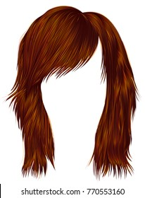 trendy  woman  hairs Red Ginger color . 