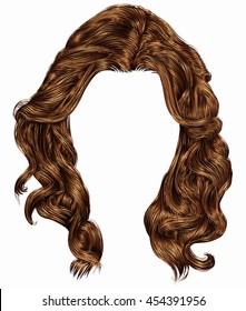 trendy woman long curly  hairs  brown colors . fashion beauty style . realistic  3d .