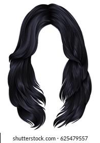 trendy woman long hairs brunette black colors .  beauty fashion .  realistic  graphic 3d