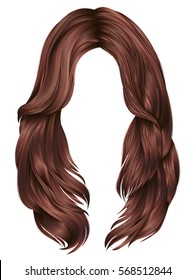 trendy woman long hairs red copper colors .  beauty fashion .  realistic 3d
