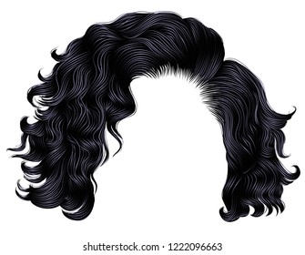 trendy woman short  hairs brunette black dark colors . fringe. fashion beauty style. 3d .