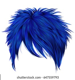 trendy woman short  hairs dark blue colors . fringe . 