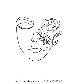Trendy woman's face silhouette in one line art style. Continuous art modern design with closed eyes,lips and flowers on the one part of the face isolated on white background.Vector illustration print