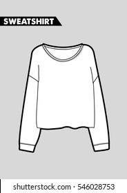 Trendy women sweatshirt cad design in vector.