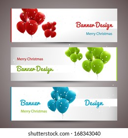 Trendy xmas banners with baloons
