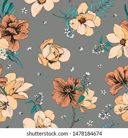 Trendy yellow bright Floral pattern in the many kind of flowers. Botanical Motifs scattered random. Seamless vector texture. Magnolia and tulip flowers.