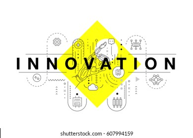 Trendy yellow Innovation systems layouts in polygonal contour line composition, future analysis and technology operations. Made awesome geometry style with linear pictogram of future for web design.