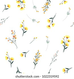 Trendy yellow wind blowing  Floral pattern in the many kind of flowers. Wild botanical  Motifs scattered Seamless vector texture. For fashion prints. Printing with in hand drawn style on white.