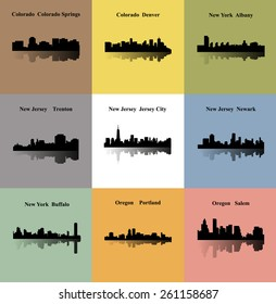 Trenton, Jersey City, Newark, Portland, Salem, Albany, Buffalo, Colorado Springs, Denver (Set of 9 CIty)