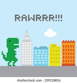 T-rex in the city vector illustration