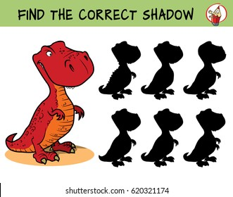 T-rex dinosaur. Find the correct shadow. Educational game for children. Cartoon vector illustration