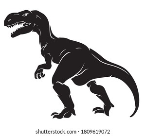 T-Rex Dinosaur, Silhouette Full Length Side View