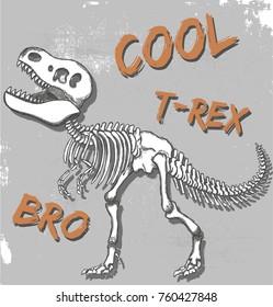 t-rex dinosaur skeleton illustration, vector