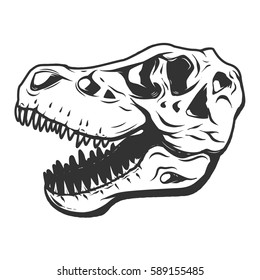 t-rex dinosaur skull isolated on white background. Images for logo, label, emblem. Vector illustration.