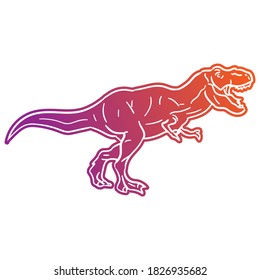 T-Rex Dinosaur Vector illustration, Silhouette Design doodle style. Prehistoric Animal Graphic.