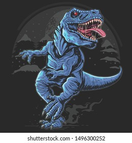 T-REX DINOSAURS RAGE ANGRY VECTOR ARTWORK