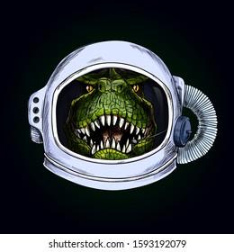 T-Rex head in space helmet on black bg, full color hand drawn illustration, vector
