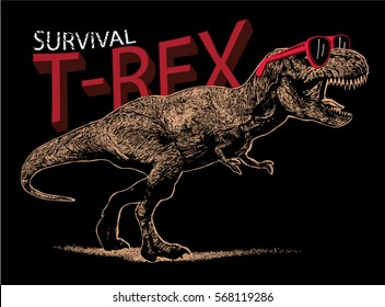 t-rex illustration vector.