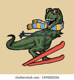 T-rex ski character. Dinosaur in glasses and scarf skiing. Funny winter sports dino.