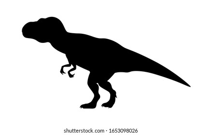 T-rex tyrannosaurus silhouette. Vector illustration tyrannosaurus rex dinosaur silhouette isolated on white background. Standing dino logo icon, side view.