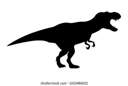 T-rex tyrannosaurus silhouette. Vector illustration growling screaming tyrannosaurus rex dinosaur silhouette isolated on white background. Standing dino logo icon, side view.