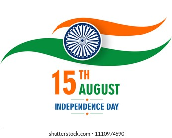 Tri Color National Flag Design for 15th of August, India Independence Day Celebration.