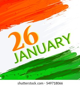 Tri Color National Flag design on grungy background with stylish text for Happy Republic Day.
