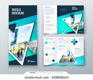 Tri fold brochure design. Blue template for tri fold flyer. Layout with modern triangle photo and abstract background. Creative concept 3 folded flyer or brochure.