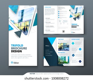 tri fold brochure design circle corporate stock vector royalty free