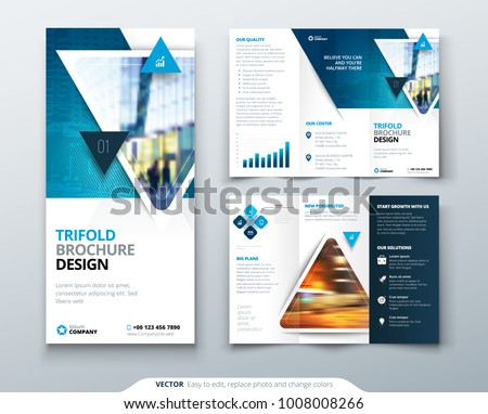 Tri Fold Brochure Design Blue Template Stock Vector Royalty Free